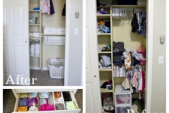 This small closet needed a makeover for a pair of twins with a lot of stuff. Adding a dresser in the room freed up a lot of closet space for coming toys and gadgets.